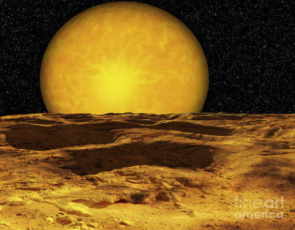 Cosmology Digital Art - A Scene On A Moon Of Upsilon Andromeda by Ron Miller