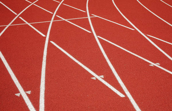Wall Art - Photograph - A School Sports Track With Lanes by Nathan Griffith
