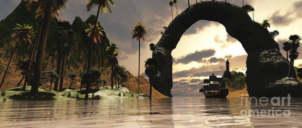 Schooner Digital Art - A Ship Sails Under The Entrance by Corey Ford