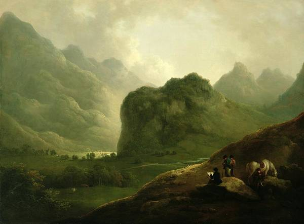 Sketching Painting - A Sketching Party In The Pass At Borrowdale by Julius Caesar Ibbetson