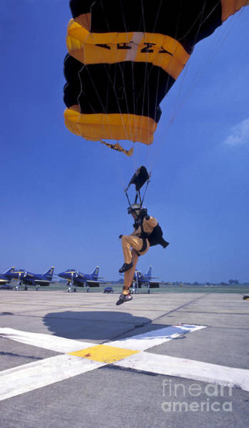 A Skydiver From The U.s. Army Golden Art Print