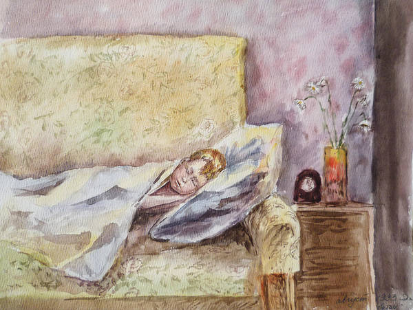 Toddler Painting - A Sleeping Toddler by Irina Sztukowski