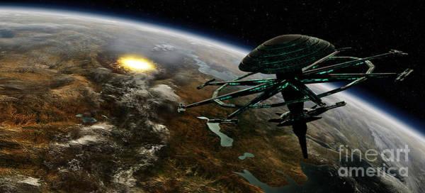 Digital Art - A Space Station Orbits A Terrestrial by Frieso Hoevelkamp