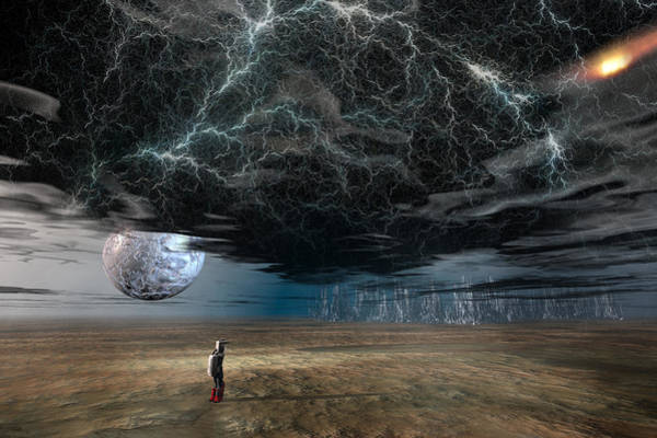 Planets And Moons Digital Art - A Space Traveler In An Alien World by Carol and Mike Werner