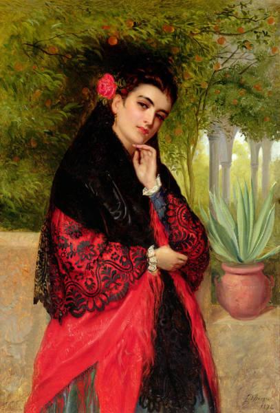 Seductive Painting - A Spanish Beauty by John-Bagnold Burgess