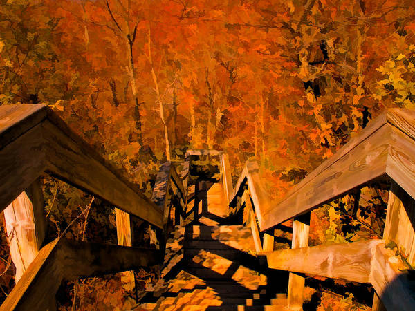 Photograph - A Stairway To Autumn Splendor by Chantal PhotoPix