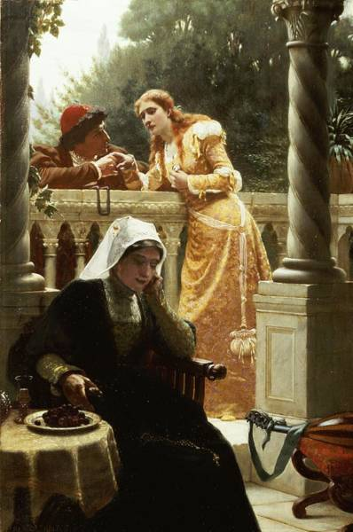 Romeo Painting - A Stolen Interview by Edmund Blair Leighton