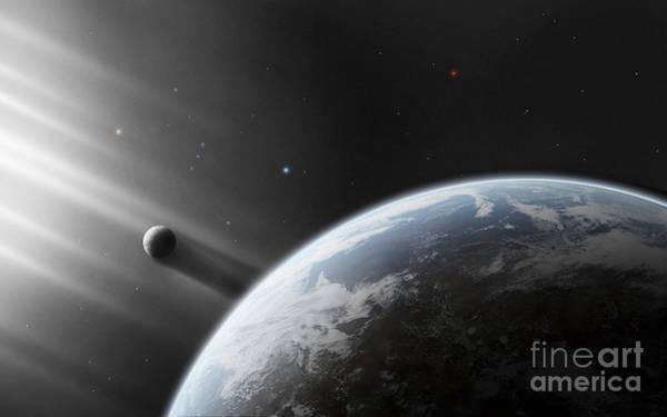 Cosmology Digital Art - A Strange Alien Light Approaches by Justin Kelly