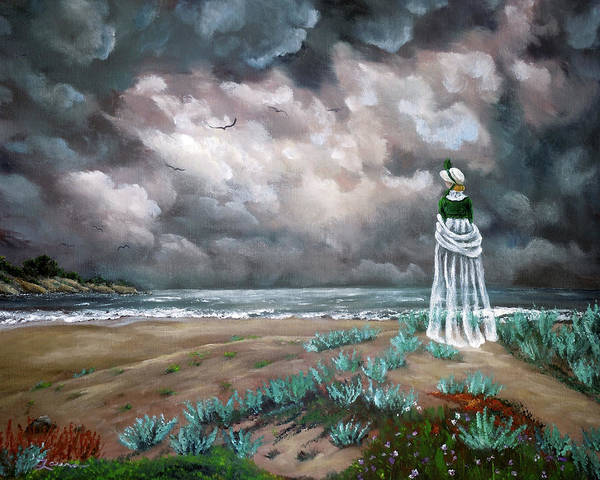 Dark Green Painting - A Stroll Upon The Dunes by Laura Iverson