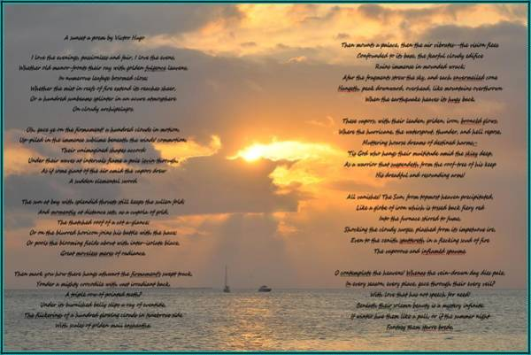 Photograph - A Sunset A Poem - Victor Hugo by Bill Cannon