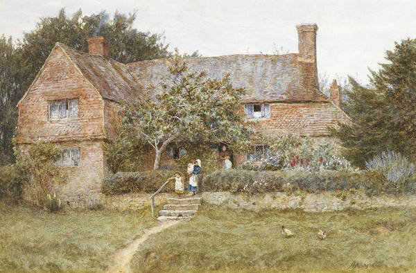 Exterior Painting - A Surrey Cottage With A Mother And Her Children by Helen Allingham