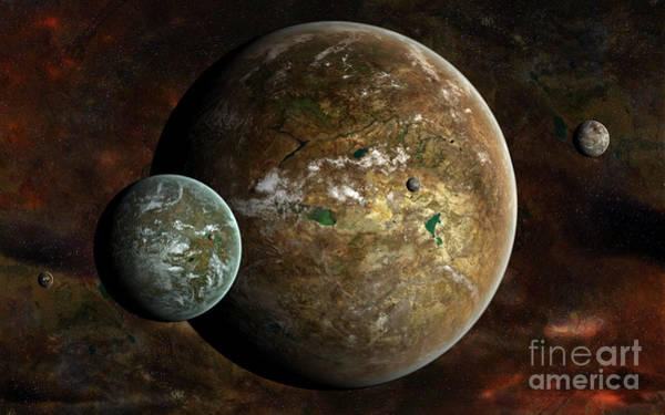 Cosmology Digital Art - A System Of Extraterrestrial Planets by Frieso Hoevelkamp