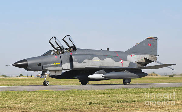 Interceptor Photograph - A Turkish Air Force Rf-4e Taxiing by Giovanni Colla