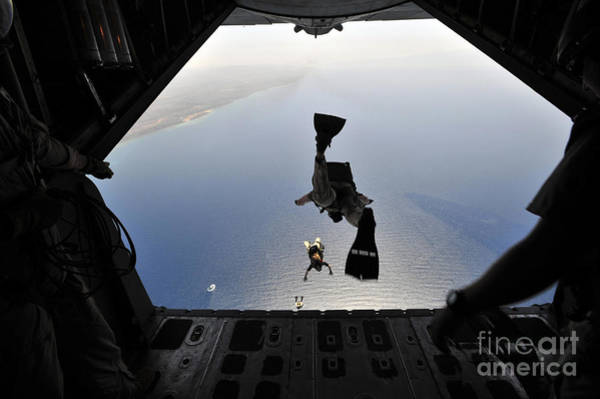 Skydiver Photograph - A U.s. Air Force Pararescueman Jumping by Stocktrek Images