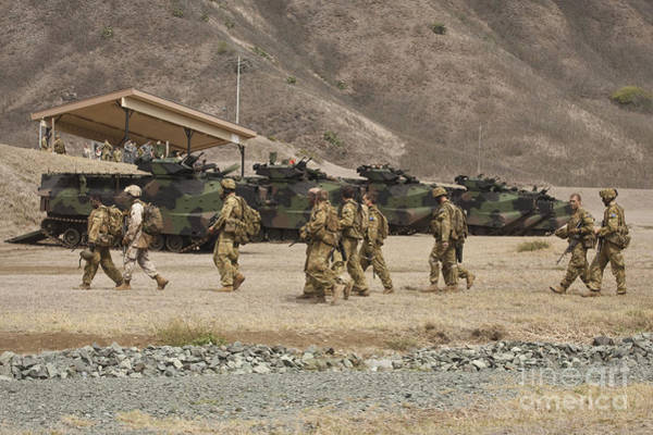 Aav Photograph - A U.s. Marine And Australian Soldiers by Stocktrek Images