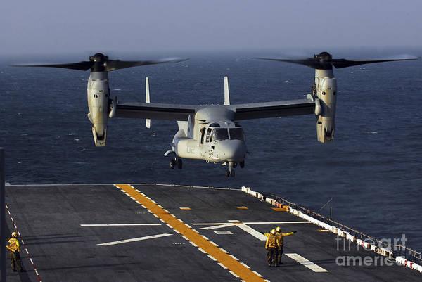 Mv-22 Photograph - A V-22 Osprey Aircraft Prepares To Land by Stocktrek Images