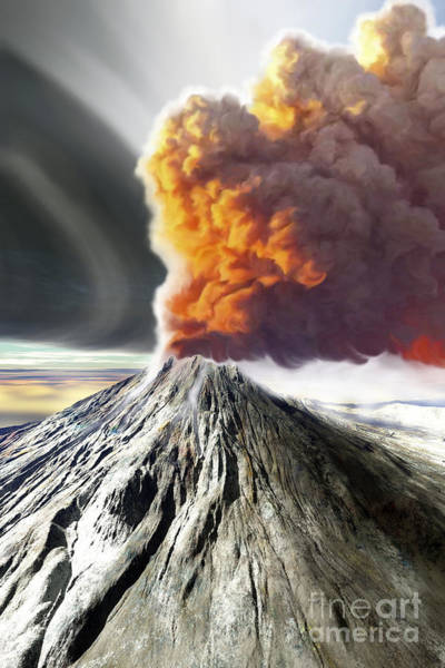 Ashes Digital Art - A Volcano Comes To Life With Billowing by Corey Ford