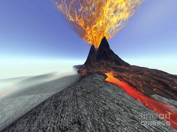 Ashes Digital Art - A Volcano Comes To Life With Fire by Corey Ford
