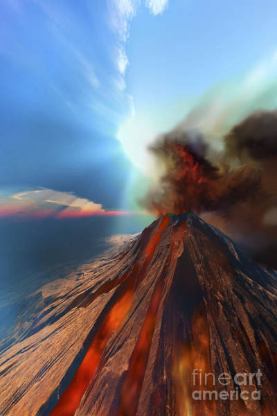 Ashes Digital Art - A Volcano Comes To Life With Smoke by Corey Ford