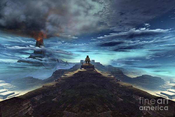 Archeology Digital Art - A Volcano Erupts Near An Ancient Mayan by Corey Ford
