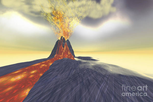 Ashes Digital Art - A Volcano Erupts With Lava, Fire by Corey Ford