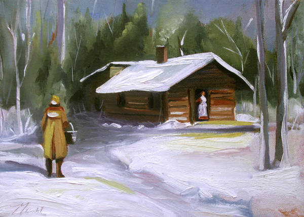 Painting - A Warm Cabin by Nancy Griswold