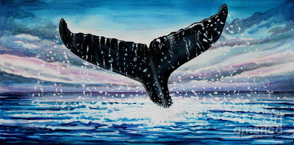 Painting - A Whale And A Violet Sunset by Elizabeth Robinette Tyndall