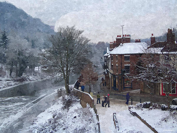Photograph - A Wintry Street Scene In Ironbridge Gorge England In Digital Oil by Sarah Broadmeadow-Thomas