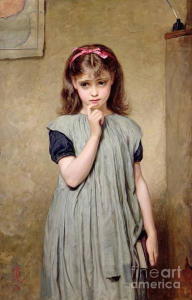 Classroom Painting - A Young Girl In The Classroom by Charles Sillem Lidderdale