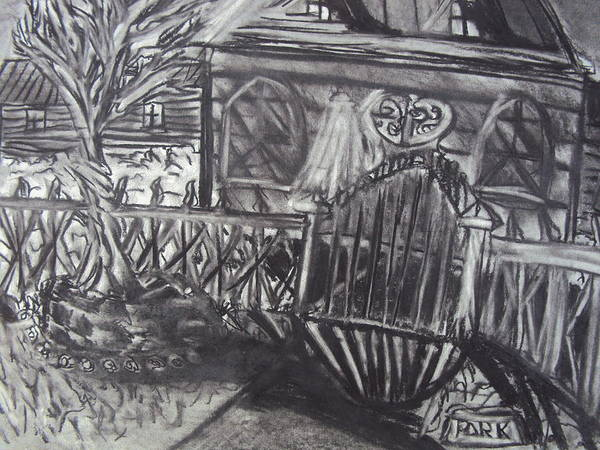 Haunted House Drawing - Abandoned House With Gate by Casey Park
