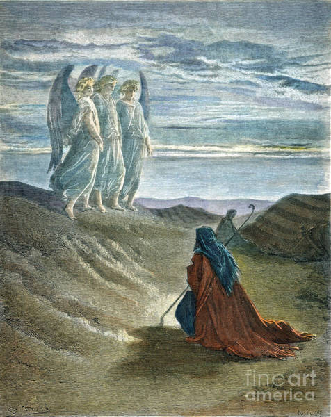 Drawing - Abraham And Three Angels by Gustave Dore