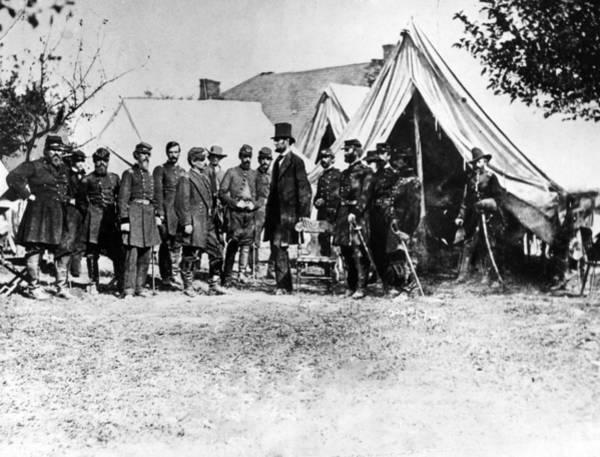 Antietam Photograph - Abraham Lincoln At Antietam, L-r Col by Everett