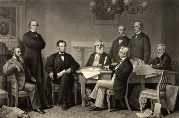 Wall Art - Photograph - Abraham Lincoln At The First Reading Of The Emancipation Proclamation - July 22 1862 by International  Images