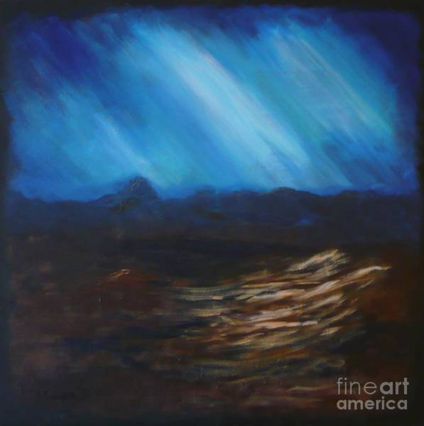 Painting - Abstract-blue by Monika Shepherdson