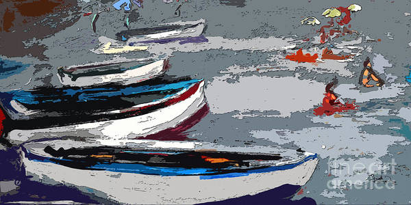 Painting - Abstract Boats Beach And Bathers by Ginette Callaway