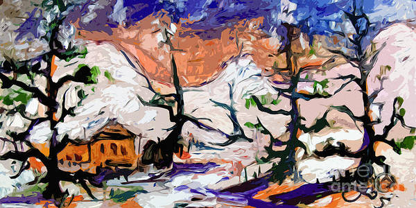 Painting - Abstract Cabin In The Snow Winterscene by Ginette Callaway