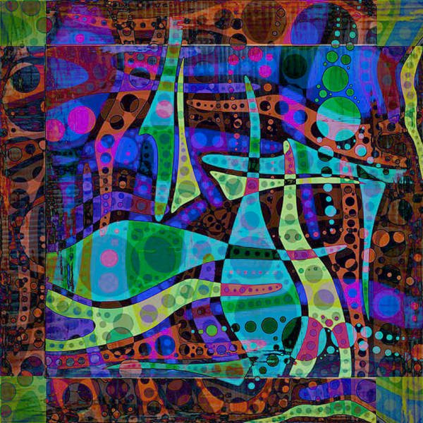 Non Representational Painting - Abstract Circles And Swirls In Purple And Blue by Elaine Plesser
