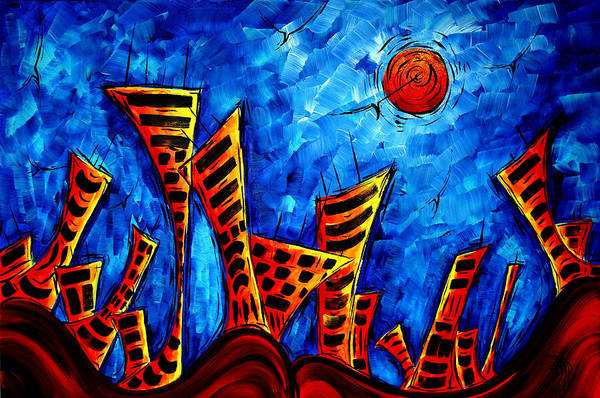 Wall Art - Painting - Abstract Cityscape Art Original City Painting The Lost City II By Madart by Megan Duncanson