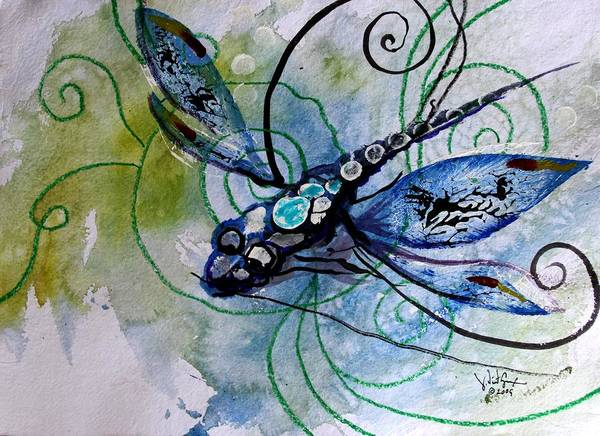 Painting - Abstract Dragonfly 10 by J Vincent Scarpace