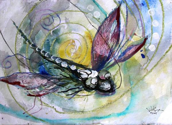Painting - Abstract Dragonfly 11 by J Vincent Scarpace
