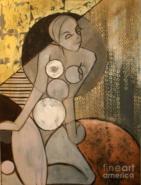 Female Portrait Painting - Abstract Female Nude by Joanne Claxton