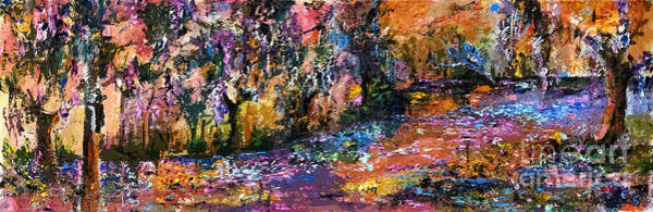 Painting - Abstract Panoramic Landscape Wetland Magic by Ginette Callaway