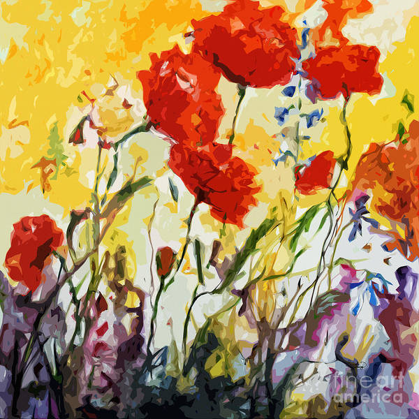 Painting - Abstract Poppies Provence Summer Breeze by Ginette Callaway