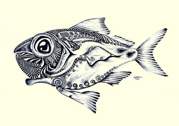 Painting - Abstract Redfish In Ink by J Vincent Scarpace