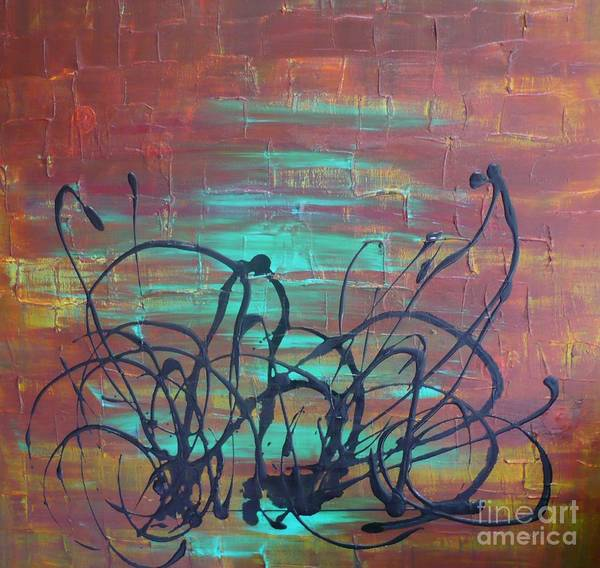 Painting - Abstract-turquoise by Monika Shepherdson