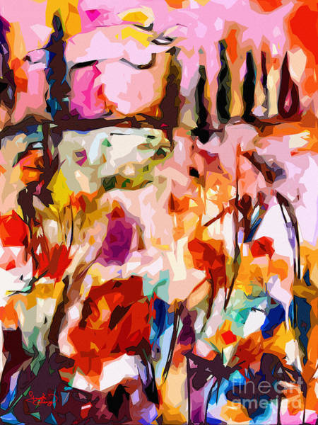 Mixed Media - Abstract Tuscan Poppy Landscape by Ginette Callaway