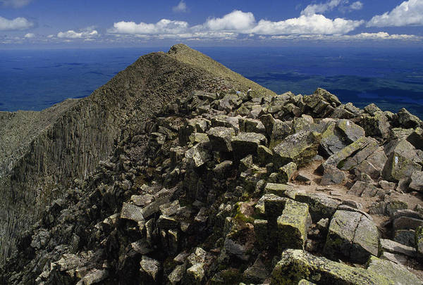 Baxter State Park Photograph - Abutting The Clouds, Hikers Rest Atop by Phil Schermeister