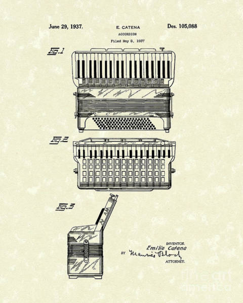 Drawing - Accordion 1937 Patent Art by Prior Art Design