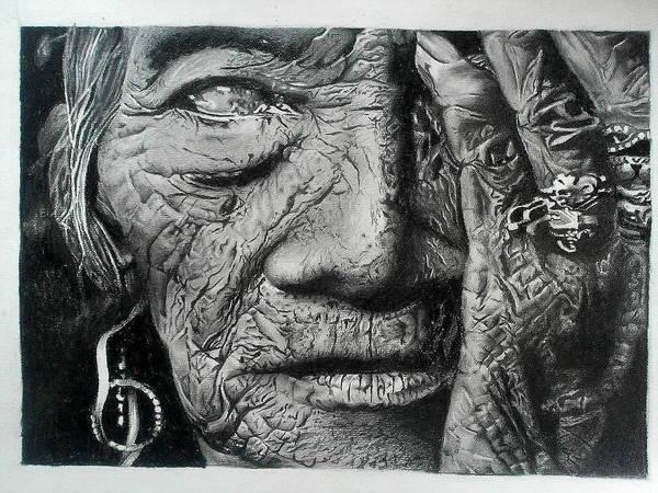 Singh Drawing - Aching Loneliness Of Life by Sohaj Singh Brar