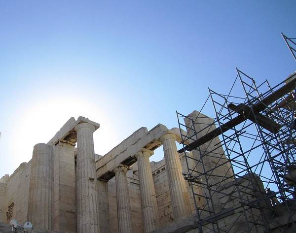 Photograph - Acropolis Majestic Columns With The Sun Backdrop During 2011 Construction Renovation Athens Greece by John Shiron
